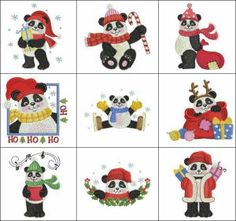 """""""Christmas Pandas"""" these pandas are perfect for panda fans everywhere! Try saying that 3 times fast! Sew adorable for your holiday decor, these pandas have presents, a candy cane and lots more for you!"""