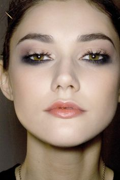 Smoky under eye only, soft color on lids and tinted lips