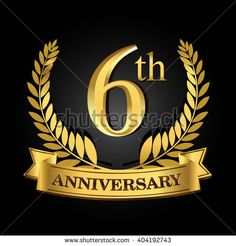 6th golden anniversary logo, 6 years anniversary celebration with ring and ribbon. - stock vector