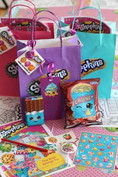 Shopkins Loot Bag - Cheeky Chocolate, Lolipoppins, Crispy Chips, stickers, tattoo, bookmark, pencil and activity book