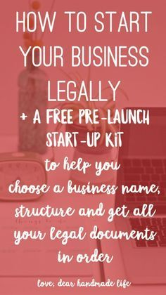 How to start your business legally from Dear Handmade Life Abundance, prosperity and positive business advice. Here is some ideas for practicing the law of attraction. Discover new business and money making ideas. Etsy Business, Craft Business, Business Advice, Home Based Business, Business Planning, Creative Business, Online Business, Legal Business, Business Education