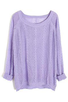 ROMWE | Hollowed Dolman Sleeves Purple Jumper, The Latest Street Fashion