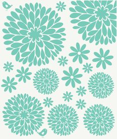 Flower Wall Decals | Girl Wall Decals | Nursery Decals | Daisy and Dahlia Flower Decals