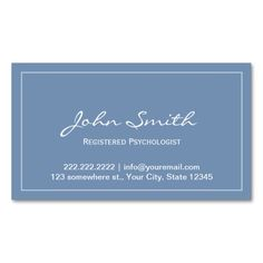 Blue Registered Psychologist Appointment Card Business Card Template. Make your own business card with this great design. All you need is to add your info to this template. Click the image to try it out!