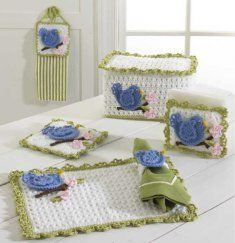 PB012 Bluebird Kitchen Set Crochet Pattern. Kitchen windows are often the prime location sitting around and doing some bird watching. Why wait for the birds to show up when you can bring the feathered beauties into your kitchen space. Bring the pretty birds indoors by crocheting some pretty kitchen accessories using the Bluebird Kitchen crochet set pattern.