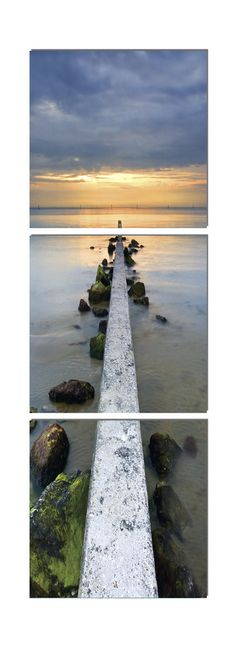 Do you dare to venture out on a precarious pier with the fish peering at you from their underwater paradise? $200 Available in 3 sizes. Elementem Photography, triptych, home decor, photo prints on wood, pier, boat, boating, rocks, water, beach, sunset