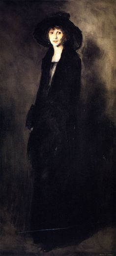 Lady in Black Velvet (Portrait of Eulabee Dix Becker) - (1911) by Robert Henri (1865-1929), American - leading figure of the Ashcan School (books0977)