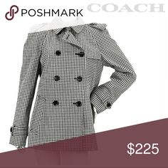 "Coach Trench Coat 🤩CASUAL COOL HOST PICK 1.23.18🤗  NWT Coach short belted gingham trench coat black/stone F85604  Super chic short Trench! Tag shows color is black, but I see a navy blue hue, so could go both ways.  The buttons definitely have a bluish tone more so than black.    Tag is included but detached.  All measurements done with coat laying flat and buttoned.   🌹21"" pit to pit 🌹28"" sleeve 🌹28.5"" length from shoulder down   Any questions lmk, quick ship! Coach Jackets & Coats…"