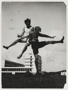 "T. Lux Feininger's ""The jump over the Bauhaus/Sport at the Bauhaus,"" c. 1927"