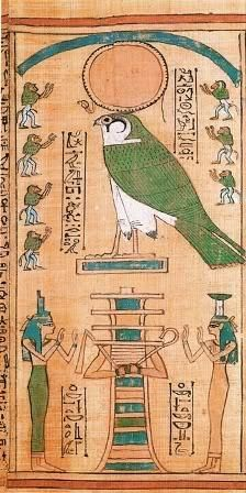 Ancient Egypt Lapbooking  The Falcon I believe is Ra. To the left is Isis, center is a djed pillar as Osiris, and on the right, Nepthys