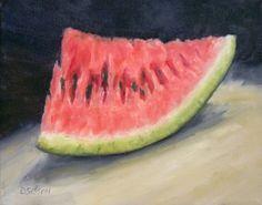 Fresh Slice Oil Painting Watermelon Fruit Still Life Art Food painting by artist Debra Sisson