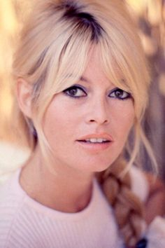 Bridgette Bardot in the 1960s. You could rock this look now. Love her eye makeup, pale lipstick and the soft hair style with the braid. It's classic. Biddy Craft