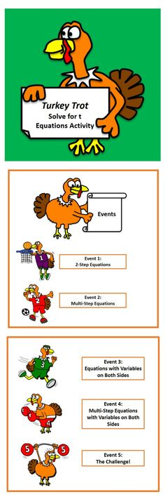 It's the Turkey Trot Olympic Challenge! Right before Thanksgiving break, your students will have fun and practice solving equations. 5 levels of difficulty will give you many opportunities to differentiate with your students! Available at the TpT store, Piece of Pi.