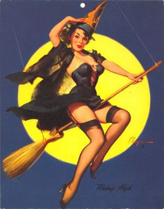The after (finished) Image of witch on broom by Gil Elvgren pin up