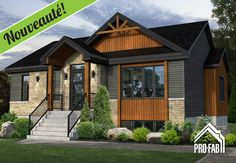Your home for the price of rent. Modern Bungalow Exterior, Modern Bungalow House, Bungalow House Plans, Dream House Exterior, Craftsman House Plans, Exterior House Colors, House Exteriors, One Storey House, Traditional House Plans