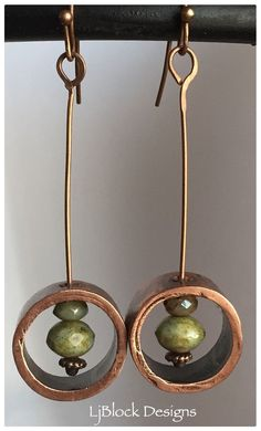 Earrings Handmade Copper pipe and Czech bead earrings by LjBlock Designs - Copper Earrings, Copper Jewelry, Bead Earrings, Clay Jewelry, Jewelry Crafts, Jewelry Art, Beaded Jewelry, Jewelry Design, Jewellery