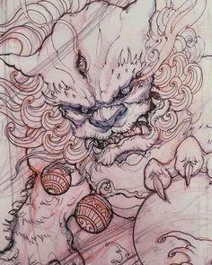 Japanese Drawings, Japanese Tattoo Designs, Japanese Tattoo Art, Japanese Sleeve Tattoos, Asian Tattoos, Dog Tattoos, Body Art Tattoos, Lion Tattoo, Irezumi Tattoos