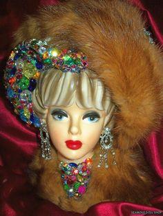 Gorgeous NAPCO JEWELED LADY HEAD VASE Mink Headvase | eBay