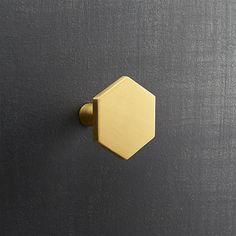 hex brushed brass drawer pull | CB2