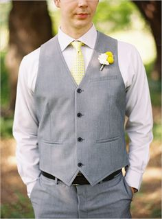 yeah, he's a cutie. gray and yellow groom ideas