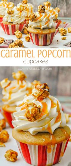 Caramel Popcorn Cupcakes, perfect for a kids' circus or baseball birthday party theme - a delicious vanilla butter cupcake with caramel buttercream topped with cracker jack popcorn (Cupcake Recipes) Popcorn Cupcakes, Butter Cupcakes, Cupcake Cookies, Baking Cupcakes, Circus Cupcakes, Baseball Cupcakes, Baseball Desserts, Biscuit Cupcakes, Muffin Cupcake
