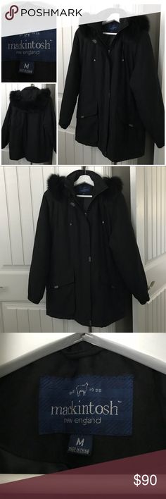 Black Adirondack Genuine Fur Trim Coat Size M MacKintosh New England Black Adirondack Coat with Genuine Fox Fur Trim Size M in pristine condition. No tares, snags, perfect condition!!!! Gun metal toned clasps & buttons. Make an offer! MacKintosh New England Jackets & Coats