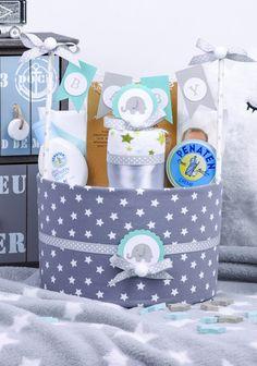 Windeltorten - Windeltorte Elefant Junge Baby Geschenk Geburt - ein Designerstück von MissNappyCake bei DaWanda