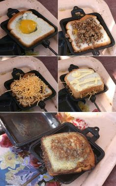 Here's a delicious and easy recipe for a Pie Iron Breakfast Sandwich & 18 Other Easy Breakfasts For Your Next Camping Trip Grill Outdoor, Outdoor Cooking, Outdoor Gear, Campfire Breakfast, Campfire Food, Campfire Recipes, Camping Breakfast Recipes, Campfire Desserts, Nutrition Education