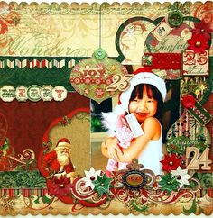 A Christmas layout featuring Clear Scraps and BoBunny! For more details, you can refer to http://scrapperlicious.blogspot.com/2014/12/merry.html