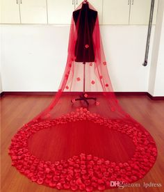 Long Red Bridal Veils Soft Tulle with Fake Flower Long 3m Fairy Wedding Veils Cheap Long Wedding Accessories Wedding Veils Wedding Accessories Bridal Veils Online with $39.0/Piece on Lpdress's Store | DHgate.com