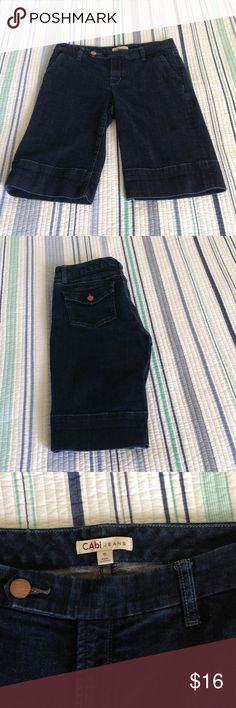 "Cute CAbi bermuda shorts, size 6, EUC These cute dark blue denim CAbi bermuda shorts are size 6, waist 16"", rise 9"", inseam 12"", 99% cotton, 1% spandex, excellent used condition. CAbi Shorts Bermudas"