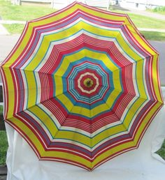 Vintage PK Polan Katz Colorful Umbrella Parasol Decorative Handle 35 Inch Span #PK
