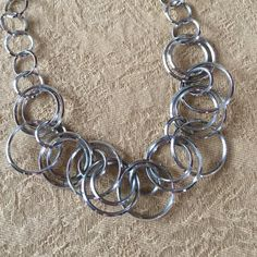 """Necklace ⭐️Silver circle necklace⭐️In good condition⭐️Measures approximately 8 1/2""""-11 1/2"""" in length⭐️No TradesNo PayPal Lia Sophia Jewelry Necklaces"""