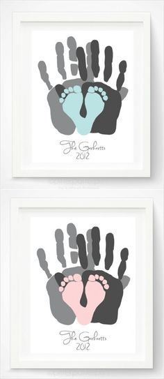 Hand and Footprint Gift Idea via Pitter Platter on Etsy - geschenke baby - Nursery Baby Crafts, Crafts For Kids, Baby Footprint Crafts, Crafts With Babies, Baby Diy Projects, Princess Pinky Girl, Diy Bebe, Baby Time, Girl Nursery
