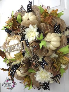 Deco Mesh Fall Burlap Welcome Wreath For by SouthernCharmWreaths