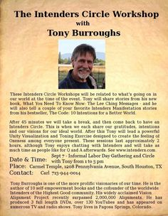 Meet Tony Burroughs -  Sept 7 - So. Houston, TX - Informal Labor Day Gathering and Circle with Tony from 1 to 3 pm