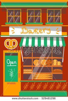 Vector modern bakery shop detailed facade background in flat style, with big bagel sticker #vector #illustration #flat #design #art #shop #store #cafe #cartoon #shutterstoke #creativemarket