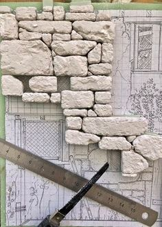 Drawn by life - built by Marcel Ackle: house with quarry stone masonry (. - Drawn by life – built by Marcel Ackle: house with quarry stone masonry (Part - Miniature Crafts, Miniature Houses, Miniature Dolls, Diy Dollhouse, Dollhouse Miniatures, Stone Masonry, Modeling Techniques, Wargaming Terrain, Free To Use Images