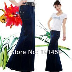 2013 autumn winter long fishtail skirt denim, dark blue mermaid maxi skirts, Woman maxi slit skirt, navy blue pencil skirt $49.86