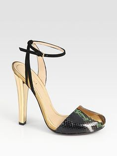 Python ones are cute too!     Gucci Delphine Python, Suede And Metallic Leather Sandals
