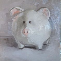"Evelyn Oldroyd's  Painting: Pig, 6x6"", #evelynoldroydpainting Painting Gallery, Art Blog, Artist, Artists"