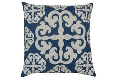 S/2 Scroll 22x22 Cotton Pillow, Blue