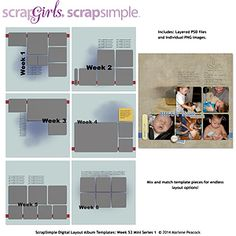 ScrapSimple Digital Layout Album Templates: Week 52 Series 1 Mini