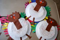 Paper Plate Turkeys with hand cutouts
