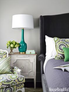 A rich velvet on Bernhardt's Gabrielle bed feels cozy yet glamorous in a guest room. Kenzo Hemlock from Lewis & Sheron Textiles on Bernhardt's Creston chair. Delilah lamp, Robert Abbey. Paint, Sherwin-Williams's Cargo Pants.   - HouseBeautiful.com