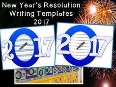 SUMMER SALE until AUGUST!  $1.50 DEAL Stock up on these Custom Designed New Year's Resolution Writing Templates for 2017!  Create an AMAZING Bulletin Board in Kindergarten, 1st, or 2nd grade.  Great for Daily 5 Work on Writing!