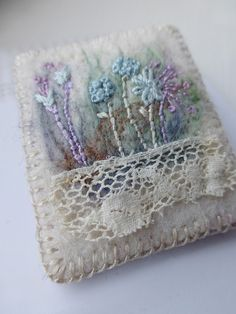 Antique Lace Embroidered Meadow Felt Brooch  A small neat brooch embroidered on 3mm artisan felt, so wonderful to stitch on. First I needle felted a