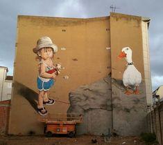 Rojo for Festival art aero rap, Spain, 2015 Where The Sidewalk Ends, Amazing Street Art, Illusion Art, Sand Art, Mural Art, Street Artists, Public Art, Rock Art, Installation Art