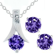 """Your Bargain Price: $29.99 [ List Price: $ 160.00, Your Bargains Savings: $ 130.01 (81%). 2.25 Ct Round Purple Amethyst .925 Silver Pendant and Earrings Set 18"""" Chain. This beautiful item is brand new and comes with complimentary gift packaging appropriately selected to match the item you purchased. The packaging ranges from dainty foam insert packaging to luxurious leather insert cherry wood boxes."""
