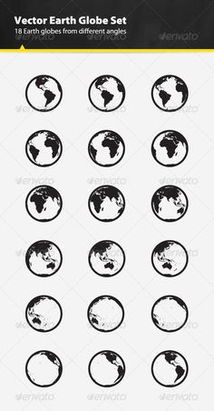 Vector Earth Globe Set — Photoshop PSD #eco #america • Available here → https://graphicriver.net/item/vector-earth-globe-set/2853822?ref=pxcr